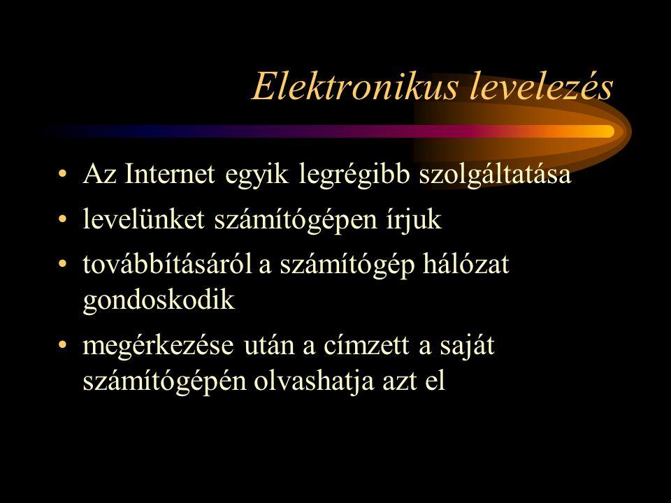 Elektronikus levelezés •Az Internet egyik legrégibb szolgáltatása •levelünket számítógépen írjuk •továbbításáról a számítógép hálózat gondoskodik •megérkezése után a címzett a saját számítógépén olvashatja azt el