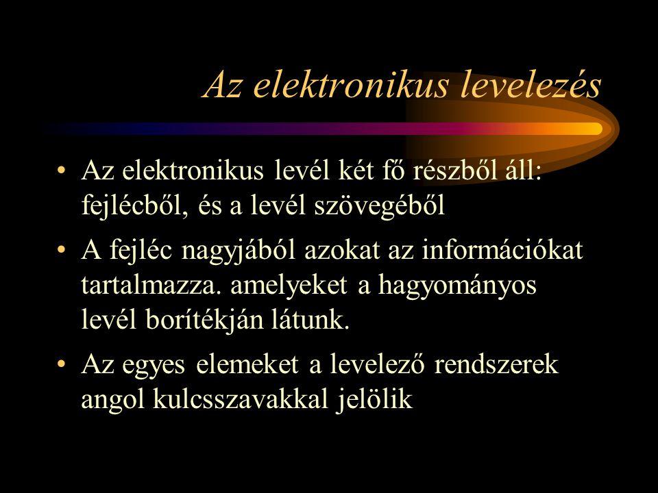 Az elektronikus levelezés •Az elektronikus levél két fő részből áll: fejlécből, és a levél szövegéből •A fejléc nagyjából azokat az információkat tartalmazza.