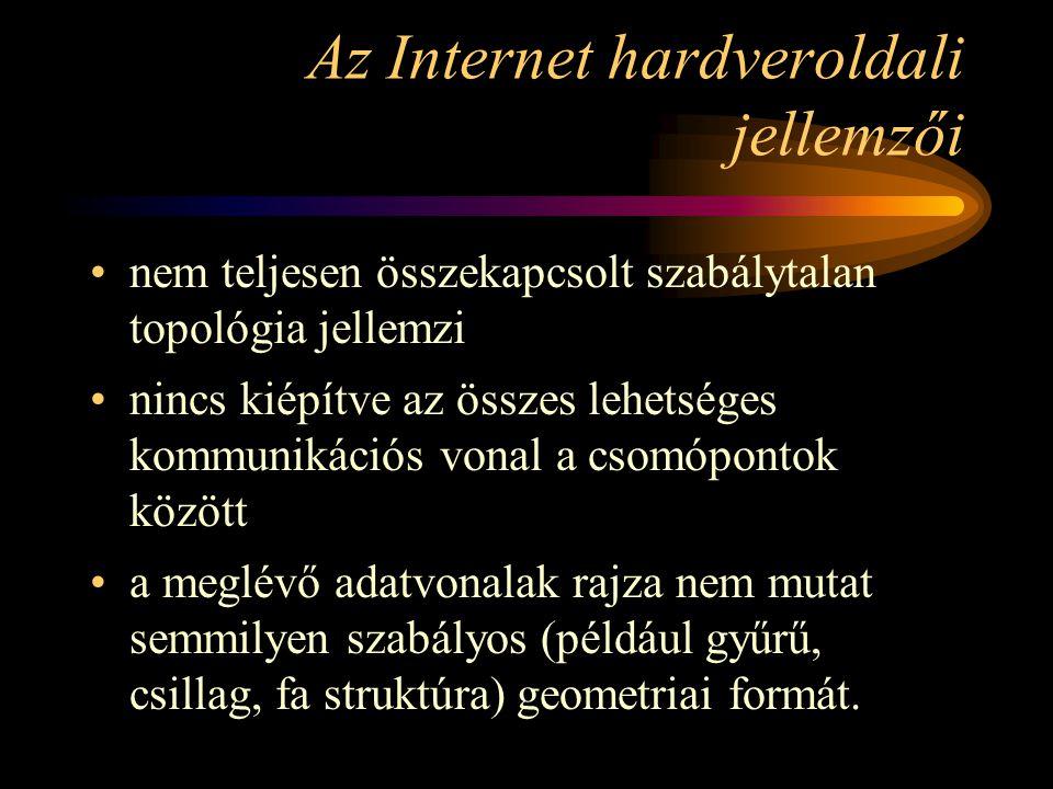 Az Internet hardveroldali jellemzői •nem teljesen összekapcsolt szabálytalan topológia jellemzi •nincs kiépítve az összes lehetséges kommunikációs vonal a csomópontok között •a meglévő adatvonalak rajza nem mutat semmilyen szabályos (például gyűrű, csillag, fa struktúra) geometriai formát.