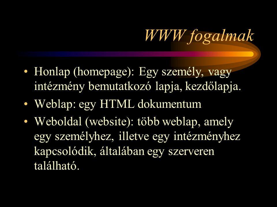 WWW fogalmak •Honlap (homepage): Egy személy, vagy intézmény bemutatkozó lapja, kezdőlapja.