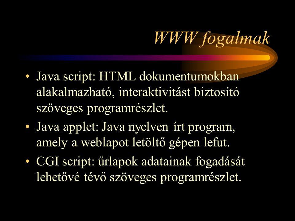 WWW fogalmak •Java script: HTML dokumentumokban alakalmazható, interaktivitást biztosító szöveges programrészlet.