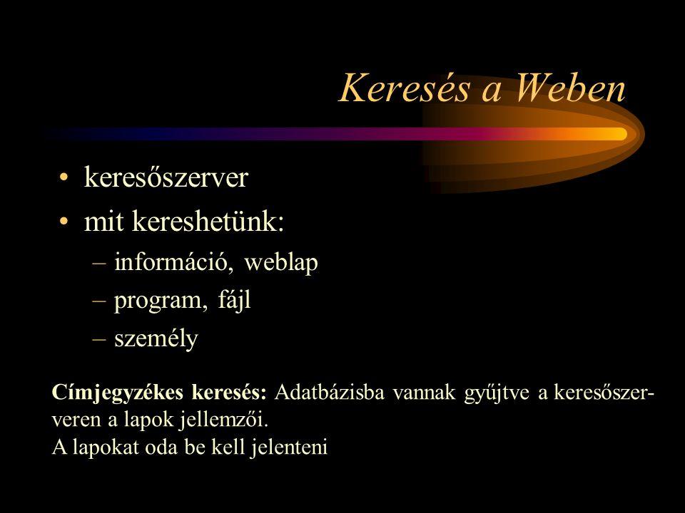 Keresés a Weben •keresőszerver •mit kereshetünk: –információ, weblap –program, fájl –személy Címjegyzékes keresés: Adatbázisba vannak gyűjtve a keresőszer- veren a lapok jellemzői.