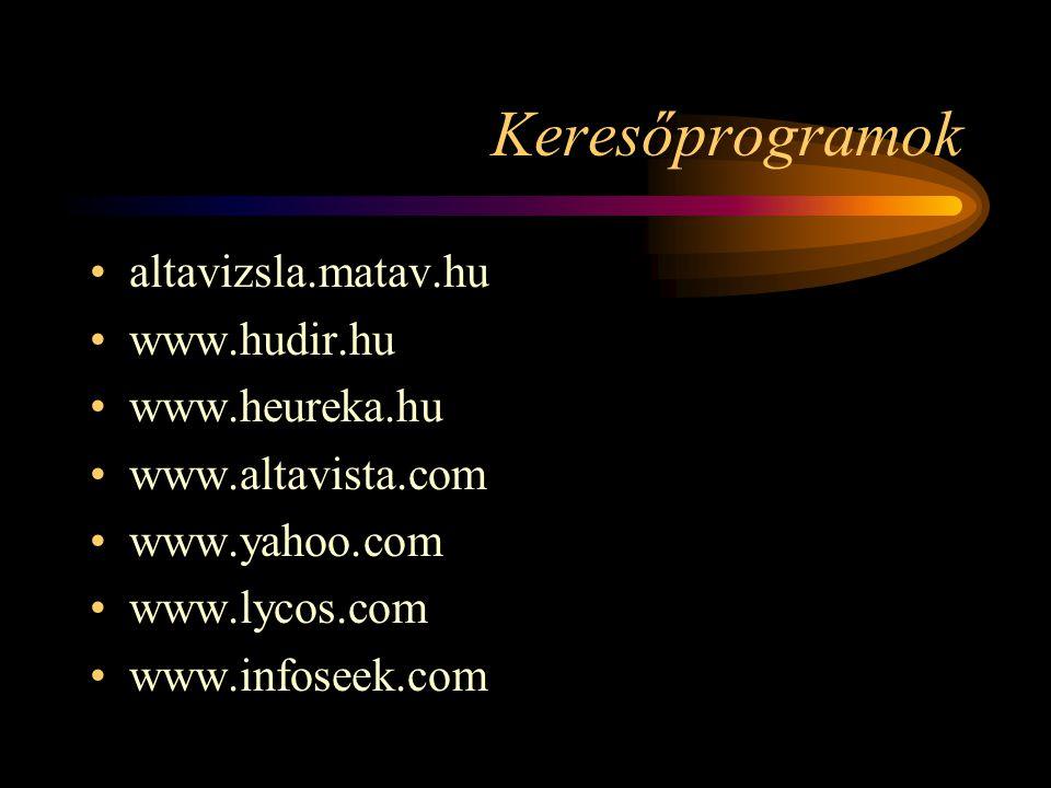 Keresőprogramok •altavizsla.matav.hu •www.hudir.hu •www.heureka.hu •www.altavista.com •www.yahoo.com •www.lycos.com •www.infoseek.com