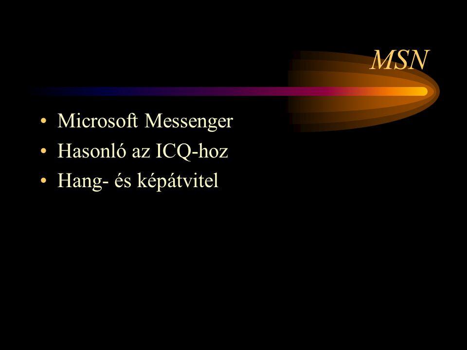 MSN •Microsoft Messenger •Hasonló az ICQ-hoz •Hang- és képátvitel