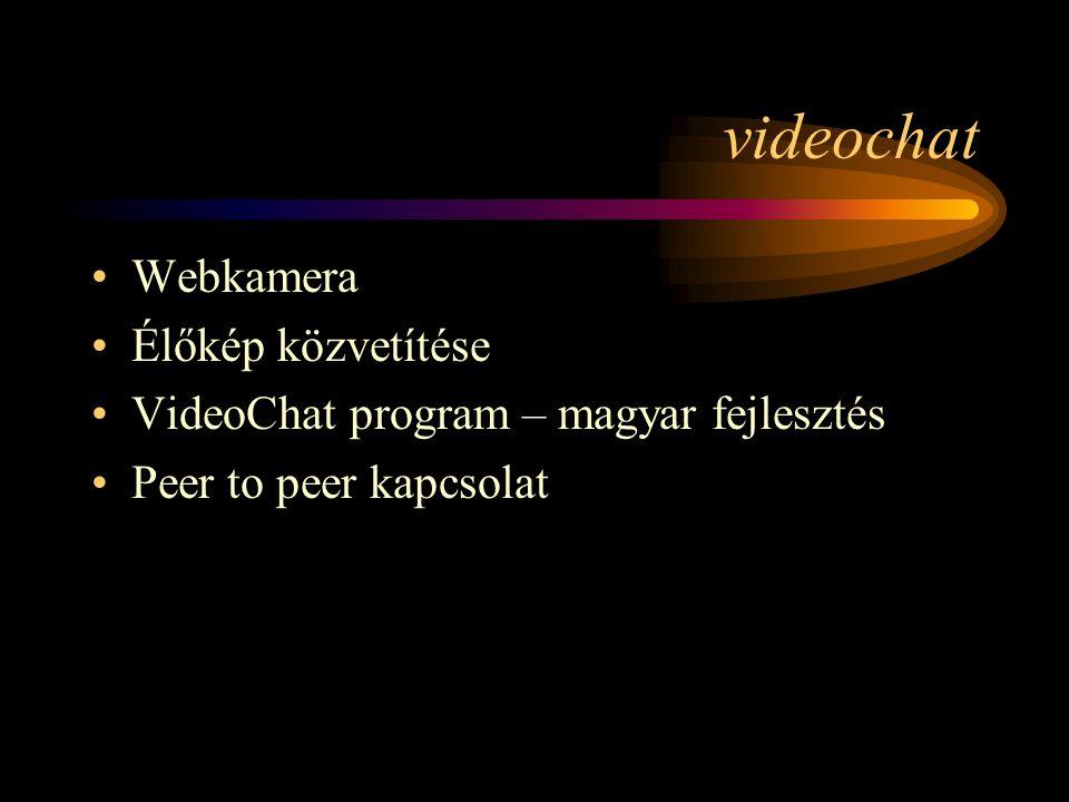 videochat •Webkamera •Élőkép közvetítése •VideoChat program – magyar fejlesztés •Peer to peer kapcsolat