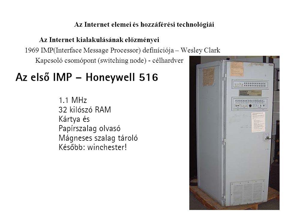 Az Internet elemei és hozzáférési technológiái Az Internet kialakulásának előzményei 1969 IMP(Interface Message Processor) definíciója – Wesley Clark Kapcsoló csomópont (switching node) - célhardver