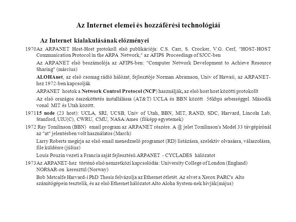 Az Internet elemei és hozzáférési technológiái Az Internet kialakulásának előzményei 1970Az ARPANET Host-Host protokoll első publikációja: C.S.