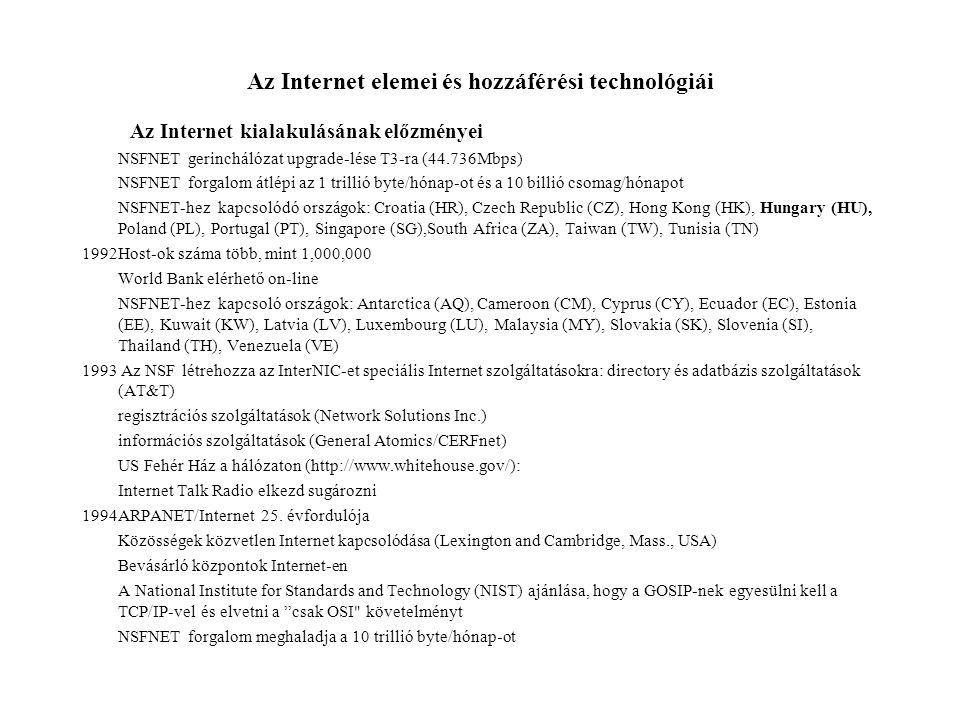 Az Internet elemei és hozzáférési technológiái Az Internet kialakulásának előzményei NSFNET gerinchálózat upgrade-lése T3-ra (44.736Mbps) NSFNET forgalom átlépi az 1 trillió byte/hónap-ot és a 10 billió csomag/hónapot NSFNET-hez kapcsolódó országok: Croatia (HR), Czech Republic (CZ), Hong Kong (HK), Hungary (HU), Poland (PL), Portugal (PT), Singapore (SG),South Africa (ZA), Taiwan (TW), Tunisia (TN) 1992Host-ok száma több, mint 1,000,000 World Bank elérhető on-line NSFNET-hez kapcsoló országok: Antarctica (AQ), Cameroon (CM), Cyprus (CY), Ecuador (EC), Estonia (EE), Kuwait (KW), Latvia (LV), Luxembourg (LU), Malaysia (MY), Slovakia (SK), Slovenia (SI), Thailand (TH), Venezuela (VE) 1993 Az NSF létrehozza az InterNIC-et speciális Internet szolgáltatásokra: directory és adatbázis szolgáltatások (AT&T) regisztrációs szolgáltatások (Network Solutions Inc.) információs szolgáltatások (General Atomics/CERFnet) US Fehér Ház a hálózaton (http://www.whitehouse.gov/): Internet Talk Radio elkezd sugározni 1994ARPANET/Internet 25.