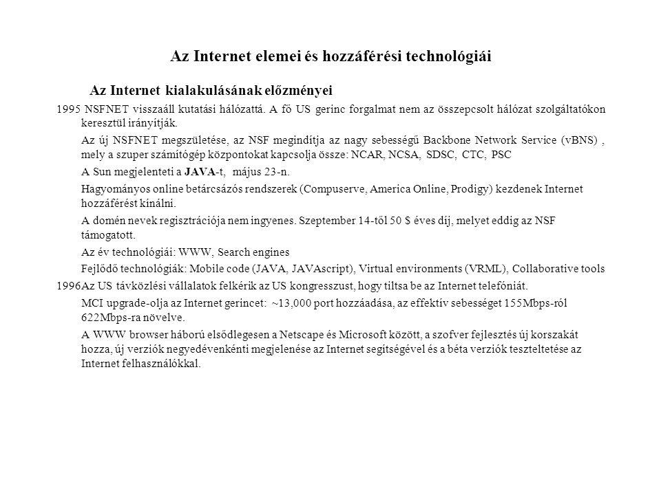 Az Internet elemei és hozzáférési technológiái Az Internet kialakulásának előzményei 1995 NSFNET visszaáll kutatási hálózattá. A fő US gerinc forgalma
