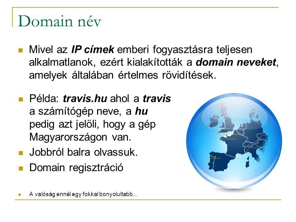 Domain név  Példa: travis.hu ahol a travis a számítógép neve, a hu pedig azt jelöli, hogy a gép Magyarországon van.  Jobbról balra olvassuk.  Domai