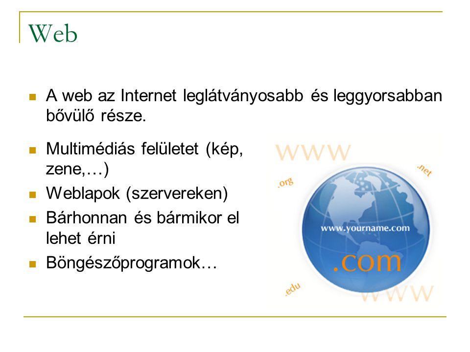 Web  A web az Internet leglátványosabb és leggyorsabban bővülő része.  Multimédiás felületet (kép, zene,…)  Weblapok (szervereken)  Bárhonnan és b