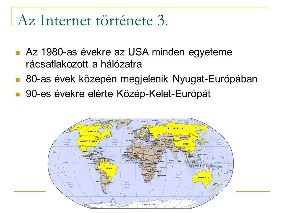 Az Internet története 3.  Az 1980-as évekre az USA minden egyeteme rácsatlakozott a hálózatra  80-as évek közepén megjelenik Nyugat-Európában  90-e