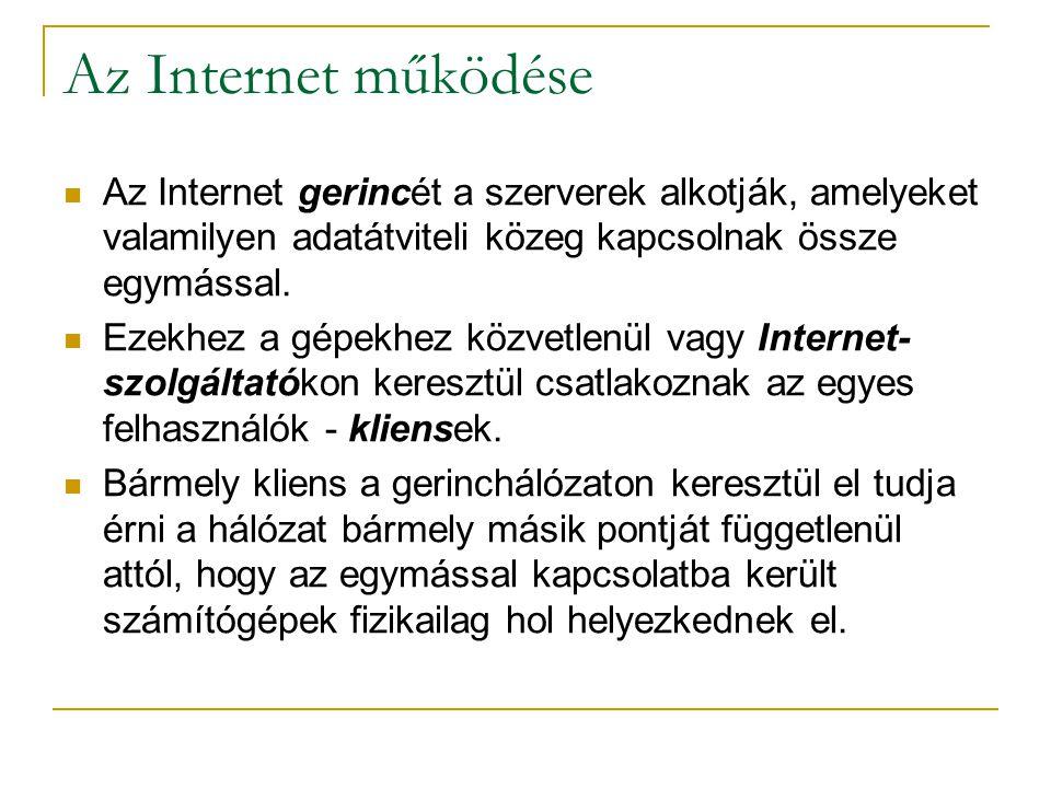 Az Internet működése  Az Internet gerincét a szerverek alkotják, amelyeket valamilyen adatátviteli közeg kapcsolnak össze egymással.  Ezekhez a gépe