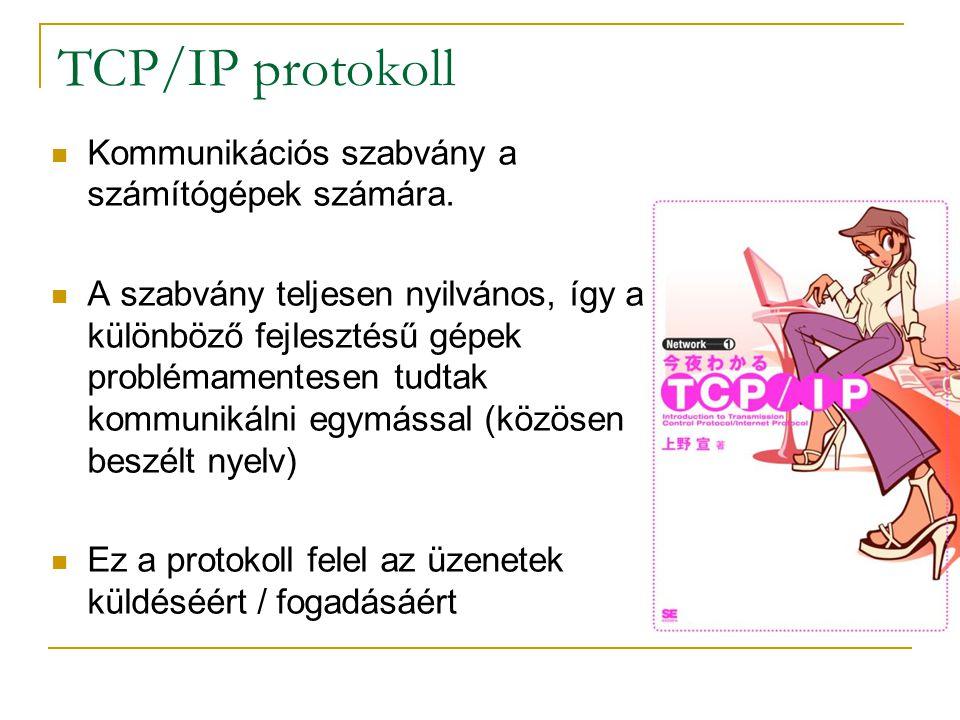 TCP/IP protokoll  Kommunikációs szabvány a számítógépek számára.  A szabvány teljesen nyilvános, így a különböző fejlesztésű gépek problémamentesen