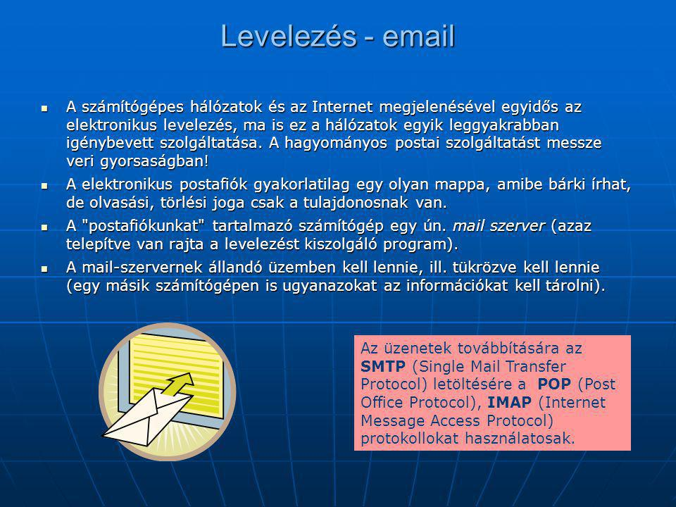 Levelezés - email  A számítógépes hálózatok és az Internet megjelenésével egyidős az elektronikus levelezés, ma is ez a hálózatok egyik leggyakrabban