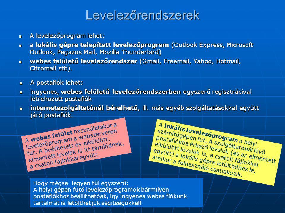 Levelezőrendszerek  A levelezőprogram lehet:  a lokális gépre telepített levelezőprogram (Outlook Express, Microsoft Outlook, Pegazus Mail, Mozilla