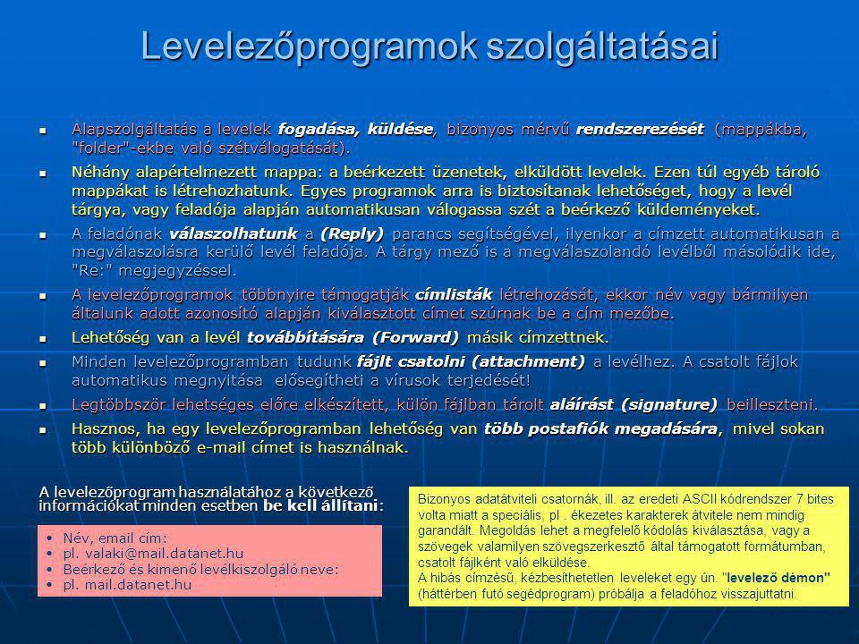 Levelezőprogramok szolgáltatásai  Alapszolgáltatás a levelek fogadása, küldése, bizonyos mérvű rendszerezését (mappákba,