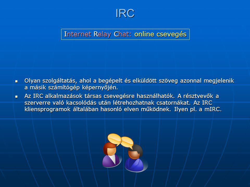 IRC  Olyan szolgáltatás, ahol a begépelt és elküldött szöveg azonnal megjelenik a másik számítógép képernyőjén.  Az IRC alkalmazások társas csevegés