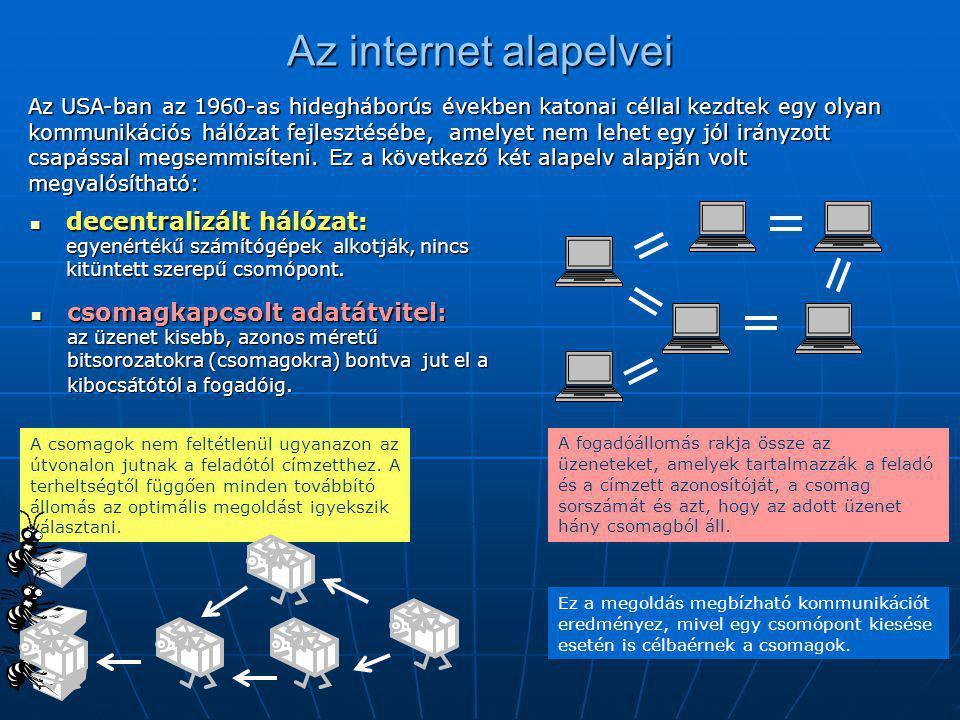 Az internet alapelvei  csomagkapcsolt adatátvitel: az üzenet kisebb, azonos méretű bitsorozatokra (csomagokra) bontva jut el a kibocsátótól a fogadói