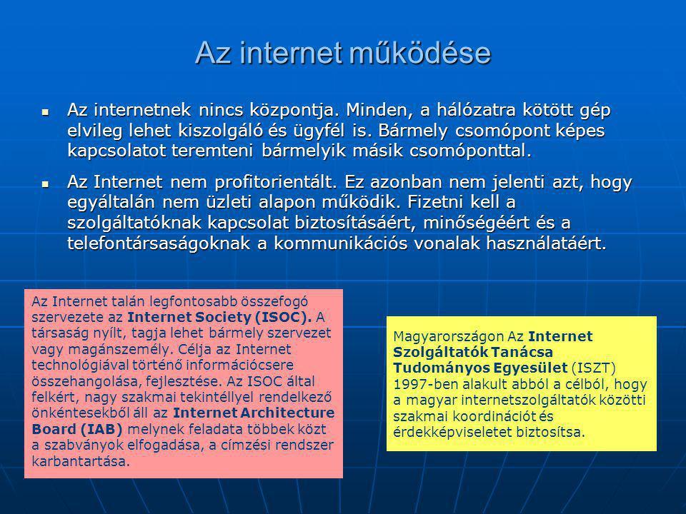 Az internet működése Az Internet talán legfontosabb összefogó szervezete az Internet Society (ISOC). A társaság nyílt, tagja lehet bármely szervezet v