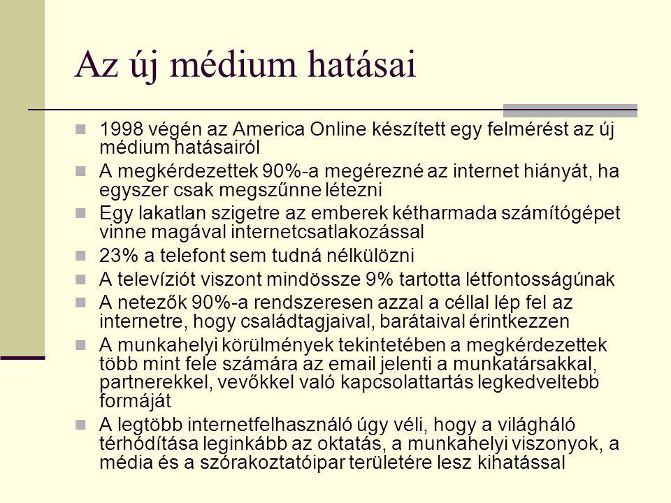 Az új médium hatásai  1998 végén az America Online készített egy felmérést az új médium hatásairól  A megkérdezettek 90%-a megérezné az internet hiányát, ha egyszer csak megszűnne létezni  Egy lakatlan szigetre az emberek kétharmada számítógépet vinne magával internetcsatlakozással  23% a telefont sem tudná nélkülözni  A televíziót viszont mindössze 9% tartotta létfontosságúnak  A netezők 90%-a rendszeresen azzal a céllal lép fel az internetre, hogy családtagjaival, barátaival érintkezzen  A munkahelyi körülmények tekintetében a megkérdezettek több mint fele számára az email jelenti a munkatársakkal, partnerekkel, vevőkkel való kapcsolattartás legkedveltebb formáját  A legtöbb internetfelhasználó úgy véli, hogy a világháló térhódítása leginkább az oktatás, a munkahelyi viszonyok, a média és a szórakoztatóipar területére lesz kihatással