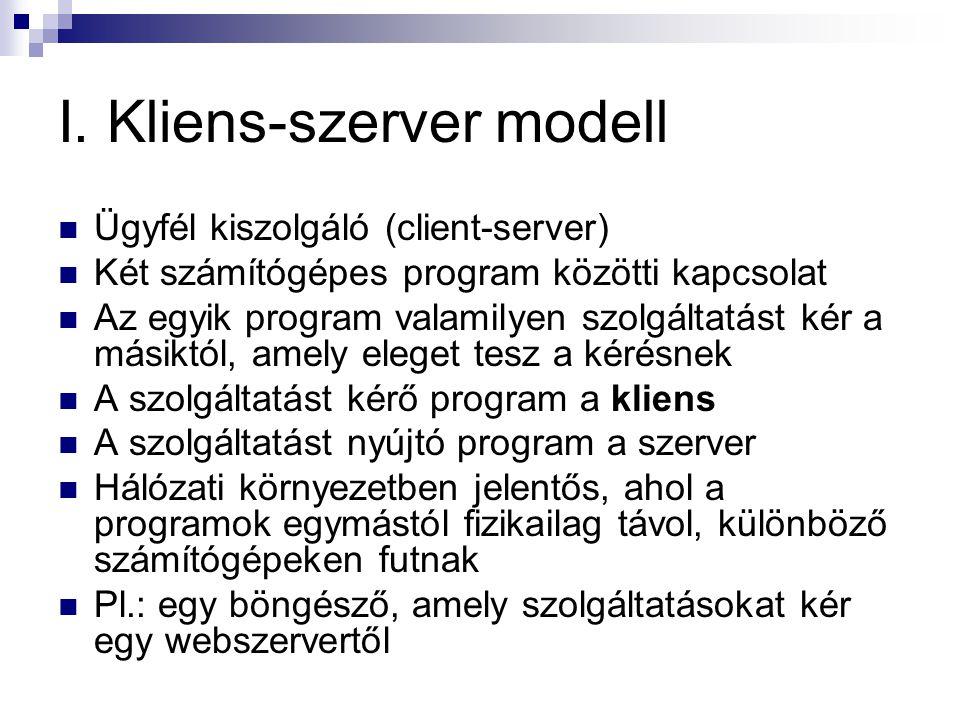 I. Kliens-szerver modell  Ügyfél kiszolgáló (client-server)  Két számítógépes program közötti kapcsolat  Az egyik program valamilyen szolgáltatást
