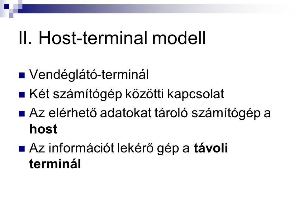 II. Host-terminal modell  Vendéglátó-terminál  Két számítógép közötti kapcsolat  Az elérhető adatokat tároló számítógép a host  Az információt lek