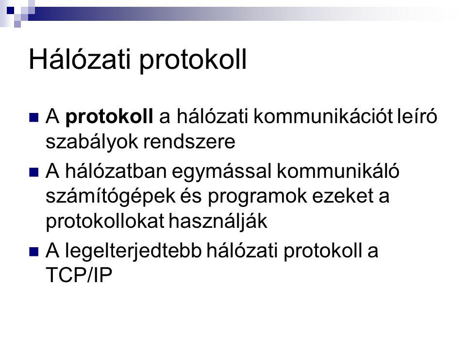 Hálózati protokoll  A protokoll a hálózati kommunikációt leíró szabályok rendszere  A hálózatban egymással kommunikáló számítógépek és programok eze