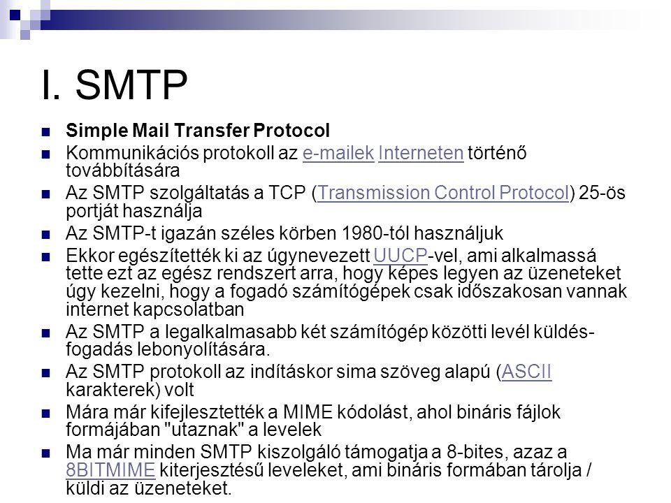 I. SMTP  Simple Mail Transfer Protocol  Kommunikációs protokoll az e-mailek Interneten történő továbbításárae-mailekInterneten  Az SMTP szolgáltatá