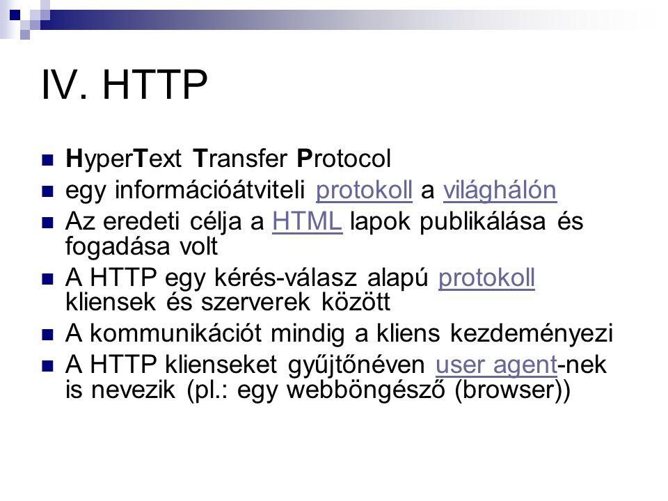 IV. HTTP  HyperText Transfer Protocol  egy információátviteli protokoll a világhálónprotokollvilághálón  Az eredeti célja a HTML lapok publikálása