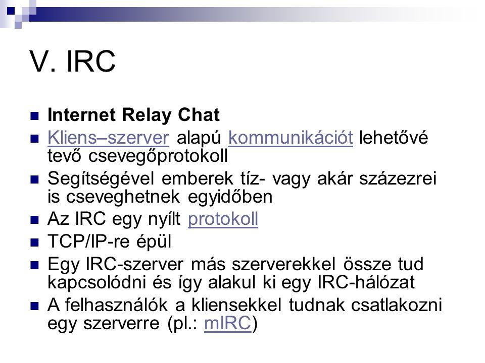V. IRC  Internet Relay Chat  Kliens–szerver alapú kommunikációt lehetővé tevő csevegőprotokoll Kliens–szerverkommunikációt  Segítségével emberek tí