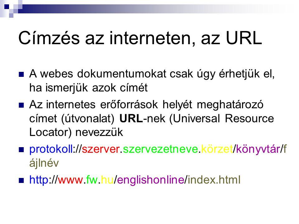 Címzés az interneten, az URL  A webes dokumentumokat csak úgy érhetjük el, ha ismerjük azok címét  Az internetes erőforrások helyét meghatározó címet (útvonalat) URL-nek (Universal Resource Locator) nevezzük  protokoll://szerver.szervezetneve.körzet/könyvtár/f ájlnév  http://www.fw.hu/englishonline/index.html