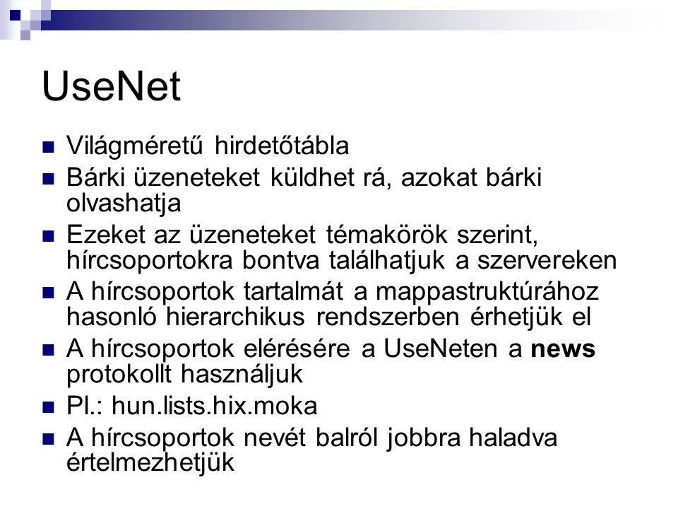 UseNet  Világméretű hirdetőtábla  Bárki üzeneteket küldhet rá, azokat bárki olvashatja  Ezeket az üzeneteket témakörök szerint, hírcsoportokra bont