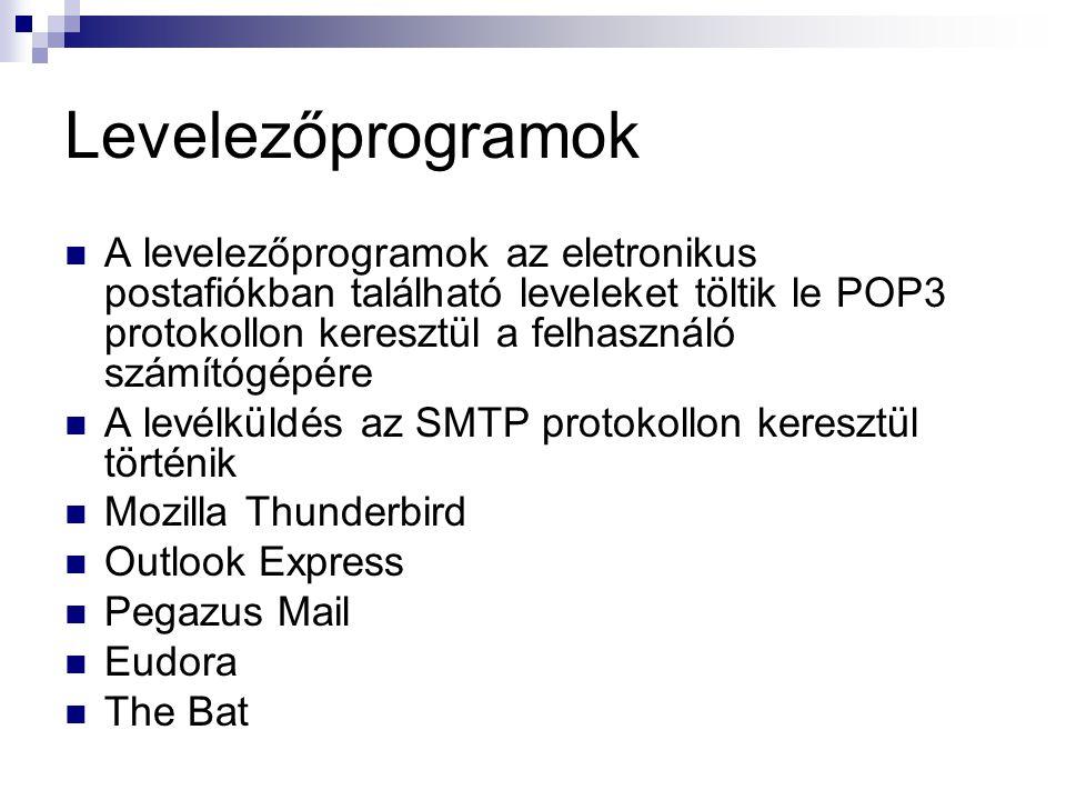 Levelezőprogramok  A levelezőprogramok az eletronikus postafiókban található leveleket töltik le POP3 protokollon keresztül a felhasználó számítógépére  A levélküldés az SMTP protokollon keresztül történik  Mozilla Thunderbird  Outlook Express  Pegazus Mail  Eudora  The Bat