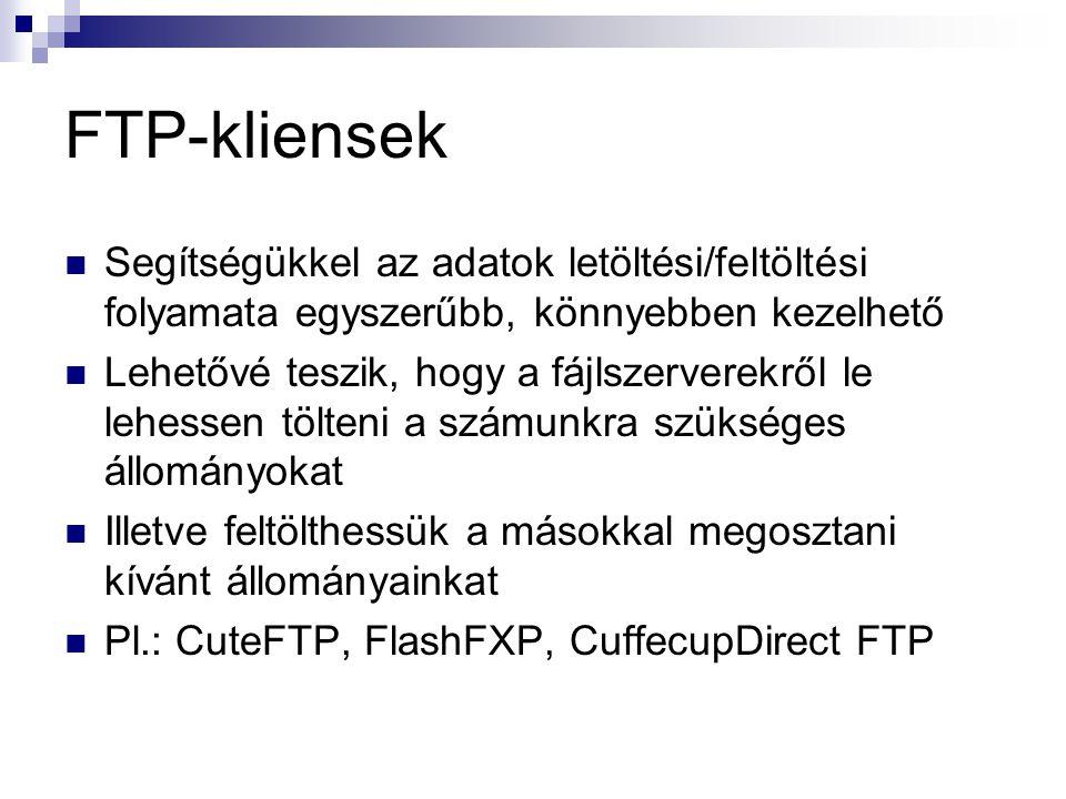 FTP-kliensek  Segítségükkel az adatok letöltési/feltöltési folyamata egyszerűbb, könnyebben kezelhető  Lehetővé teszik, hogy a fájlszerverekről le lehessen tölteni a számunkra szükséges állományokat  Illetve feltölthessük a másokkal megosztani kívánt állományainkat  Pl.: CuteFTP, FlashFXP, CuffecupDirect FTP