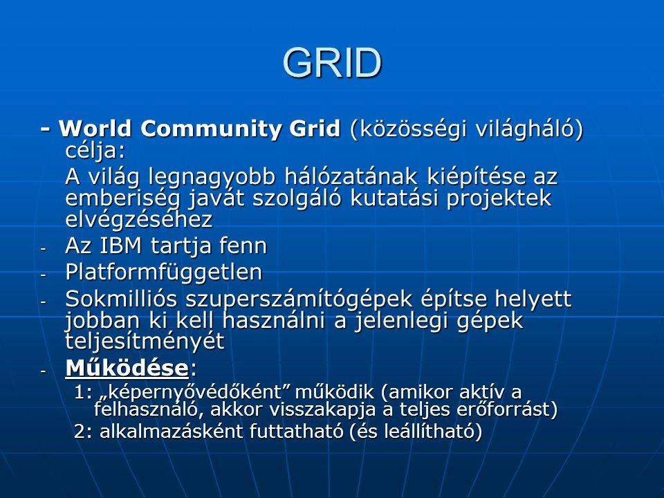 """GRID - World Community Grid (közösségi világháló) célja: A világ legnagyobb hálózatának kiépítése az emberiség javát szolgáló kutatási projektek elvégzéséhez - Az IBM tartja fenn - Platformfüggetlen - Sokmilliós szuperszámítógépek építse helyett jobban ki kell használni a jelenlegi gépek teljesítményét - Működése: 1: """"képernyővédőként működik (amikor aktív a felhasználó, akkor visszakapja a teljes erőforrást) 2: alkalmazásként futtatható (és leállítható)"""