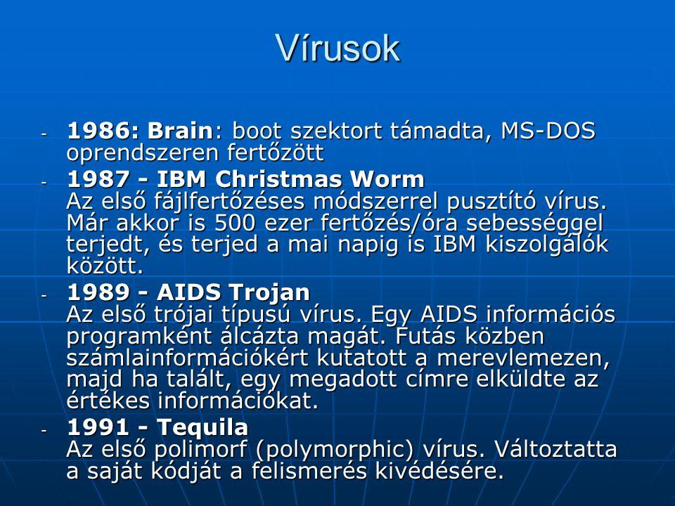 Vírusok - 1986: Brain: boot szektort támadta, MS-DOS oprendszeren fertőzött - 1987 - IBM Christmas Worm Az első fájlfertőzéses módszerrel pusztító vírus.