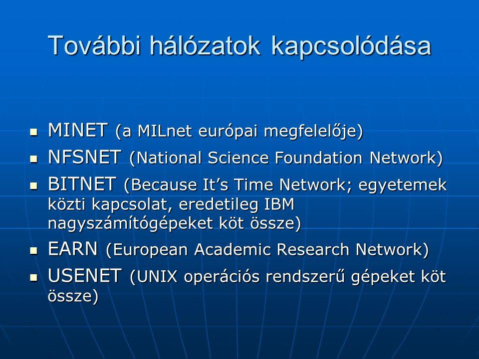 További hálózatok kapcsolódása  MINET (a MILnet európai megfelelője)  NFSNET (National Science Foundation Network)  BITNET (Because It's Time Network; egyetemek közti kapcsolat, eredetileg IBM nagyszámítógépeket köt össze)  EARN (European Academic Research Network)  USENET (UNIX operációs rendszerű gépeket köt össze)