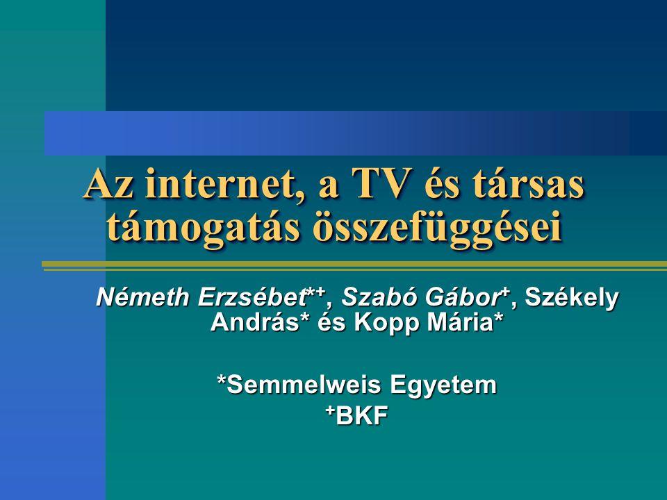 Az internet, a TV és társas támogatás összefüggései Németh Erzsébet* +, Szabó Gábor +, Székely András* és Kopp Mária* *Semmelweis Egyetem + BKF