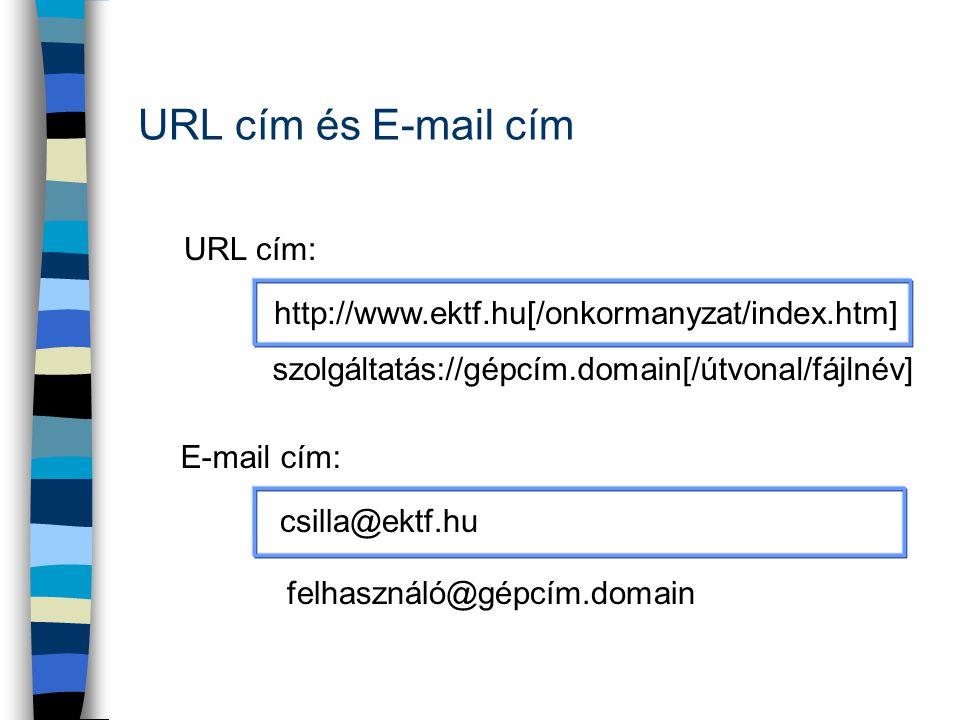 URL cím és E-mail cím http://www.ektf.hu[/onkormanyzat/index.htm] URL cím: E-mail cím: csilla@ektf.hu felhasználó@gépcím.domain szolgáltatás://gépcím.