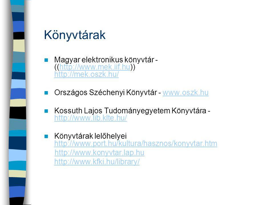 Könyvtárak  Magyar elektronikus könyvtár - ((http://www.mek.iif.hu)) http://mek.oszk.hu/http://www.mek.iif.hu http://mek.oszk.hu/  Országos Szécheny