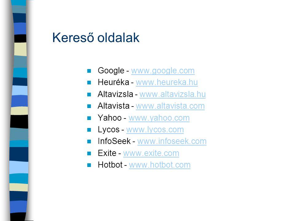 Kereső oldalak  Google - www.google.comwww.google.com  Heuréka - www.heureka.huwww.heureka.hu  Altavizsla - www.altavizsla.huwww.altavizsla.hu  Al