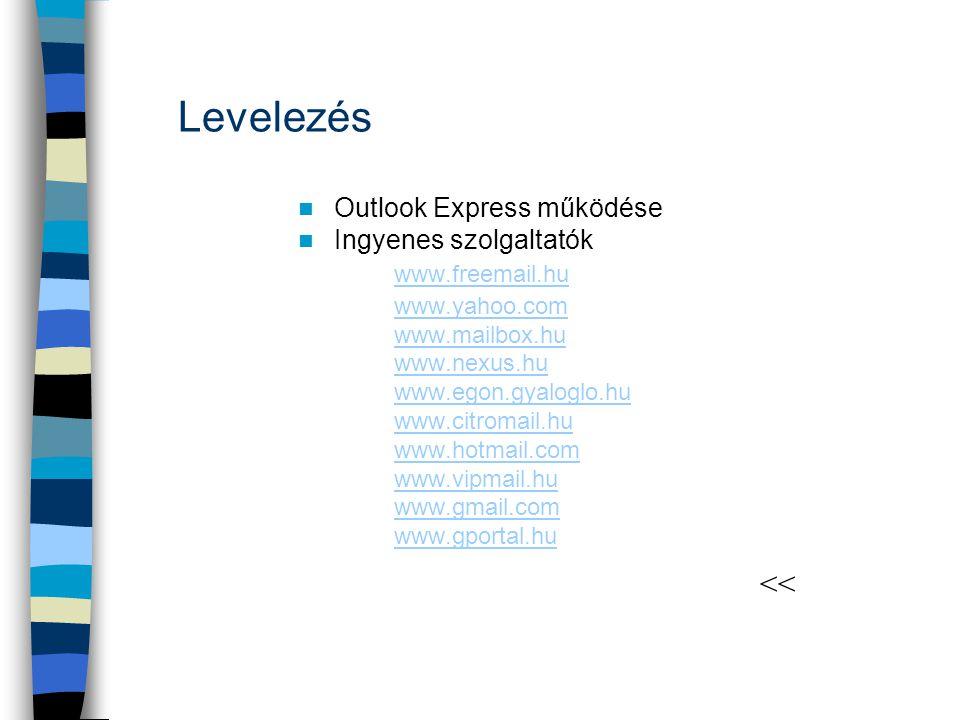 Levelezés  Outlook Express működése  Ingyenes szolgaltatók www.freemail.hu www.freemail.hu www.yahoo.com www.mailbox.hu www.nexus.hu www.egon.gyalog