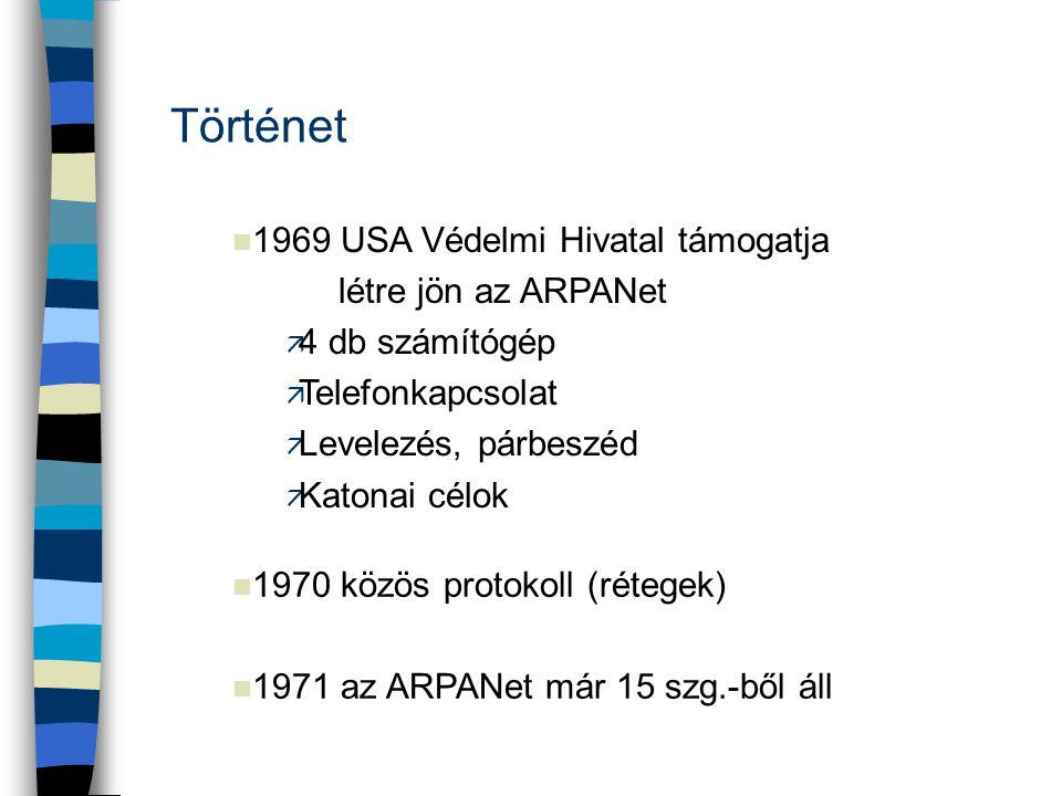 n 1969 USA Védelmi Hivatal támogatja létre jön az ARPANet ä 4 db számítógép ä Telefonkapcsolat ä Levelezés, párbeszéd ä Katonai célok Történet n 1970