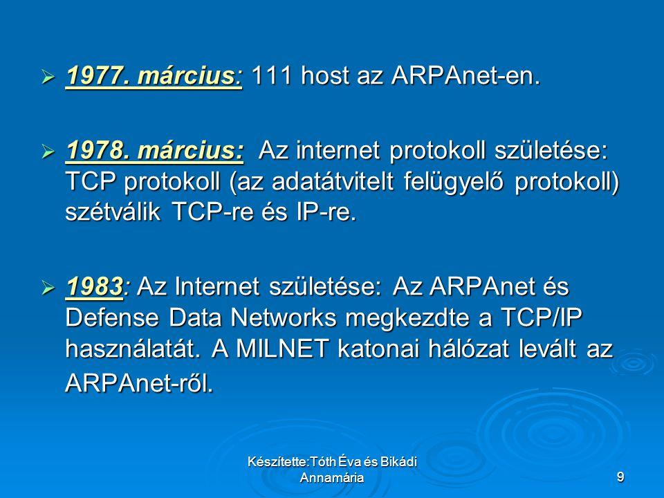 Készítette:Tóth Éva és Bikádi Annamária10  1990: Tim Berners-Lee nevű angol atom-fizikus Svájcban a CERN kutatóközpontjában létrehozta az első World Wide Web-et.