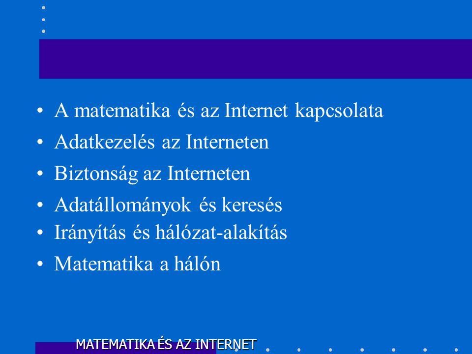 •A matematika és az Internet kapcsolata •Adatkezelés az Interneten •Biztonság az Interneten •Adatállományok és keresés •Irányítás és hálózat-alakítás •Matematika a hálón MATEMATIKA ÉS AZ INTERNET