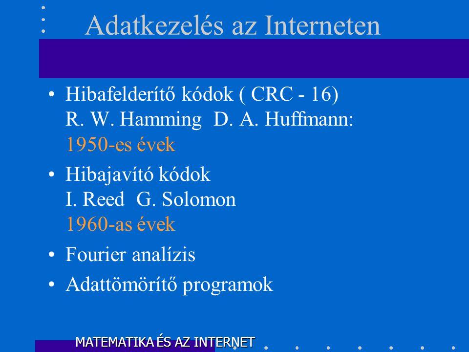 •Hibafelderítő kódok ( CRC - 16) R.W. Hamming D. A.