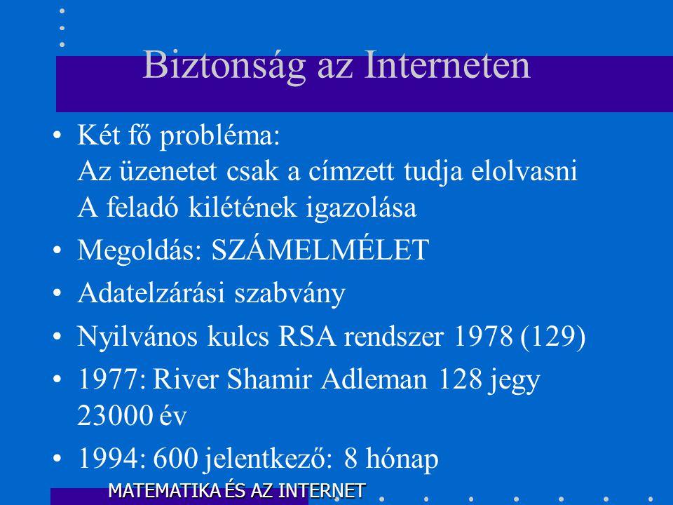 •Két fő probléma: Az üzenetet csak a címzett tudja elolvasni A feladó kilétének igazolása •Megoldás: SZÁMELMÉLET •Adatelzárási szabvány •Nyilvános kulcs RSA rendszer 1978 (129) •1977: River Shamir Adleman 128 jegy 23000 év •1994: 600 jelentkező: 8 hónap Biztonság az Interneten MATEMATIKA ÉS AZ INTERNET