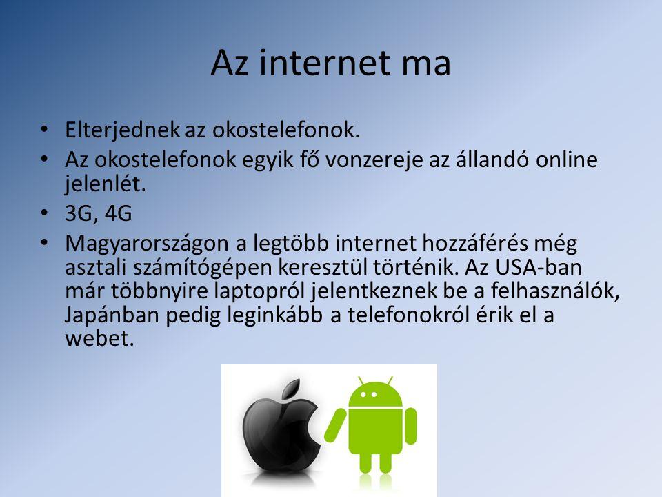 Az internet ma • Elterjednek az okostelefonok. • Az okostelefonok egyik fő vonzereje az állandó online jelenlét. • 3G, 4G • Magyarországon a legtöbb i