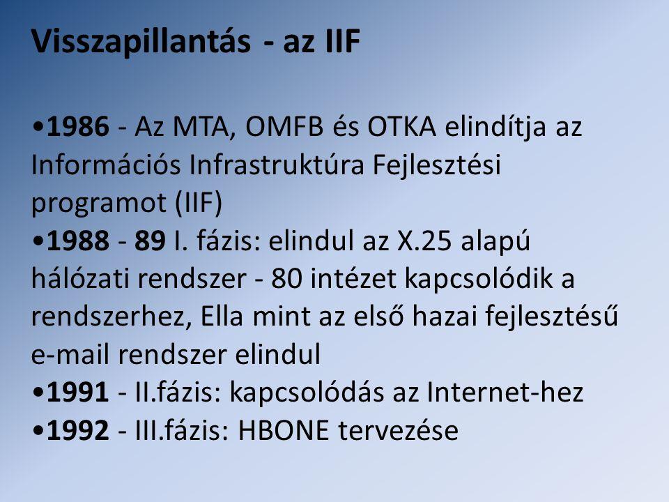 Visszapillantás - az IIF •1986 - Az MTA, OMFB és OTKA elindítja az Információs Infrastruktúra Fejlesztési programot (IIF) •1988 - 89 I. fázis: elindul